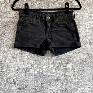 Madewell Black Cuffed Denim Shorts
